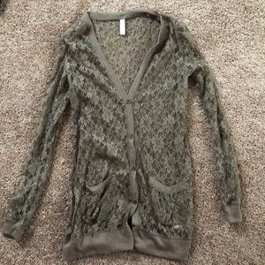 Long sleeve lace button down